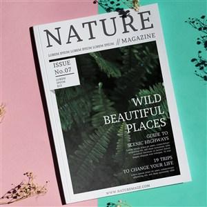 紅藍背景上的自然雜志樣機