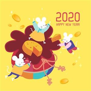 2020鼠年福袋卡通鼠春节海报设计素材