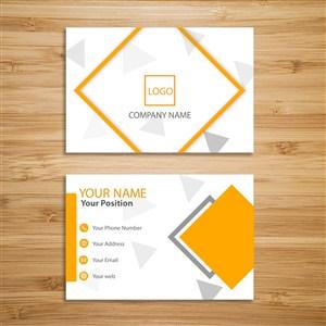 橙色清新簡單色塊企業名片模板設計.psd