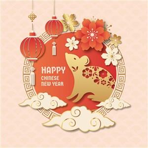 2020金色鼠年新年快樂矢量海報素材