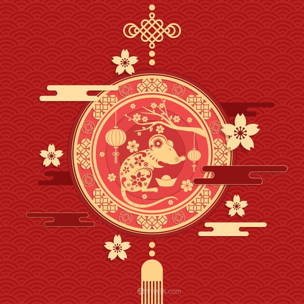 2020鼠年喜慶中式海報矢量素材