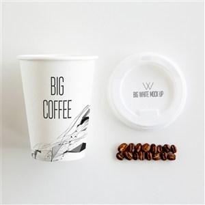 带盖咖啡杯一次性咖啡杯贴图样机
