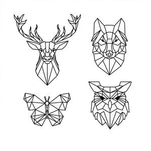 立體幾何黑白線稿卡通動物矢量素材