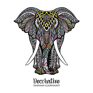 東南亞風情彩繪大象矢量動物圖