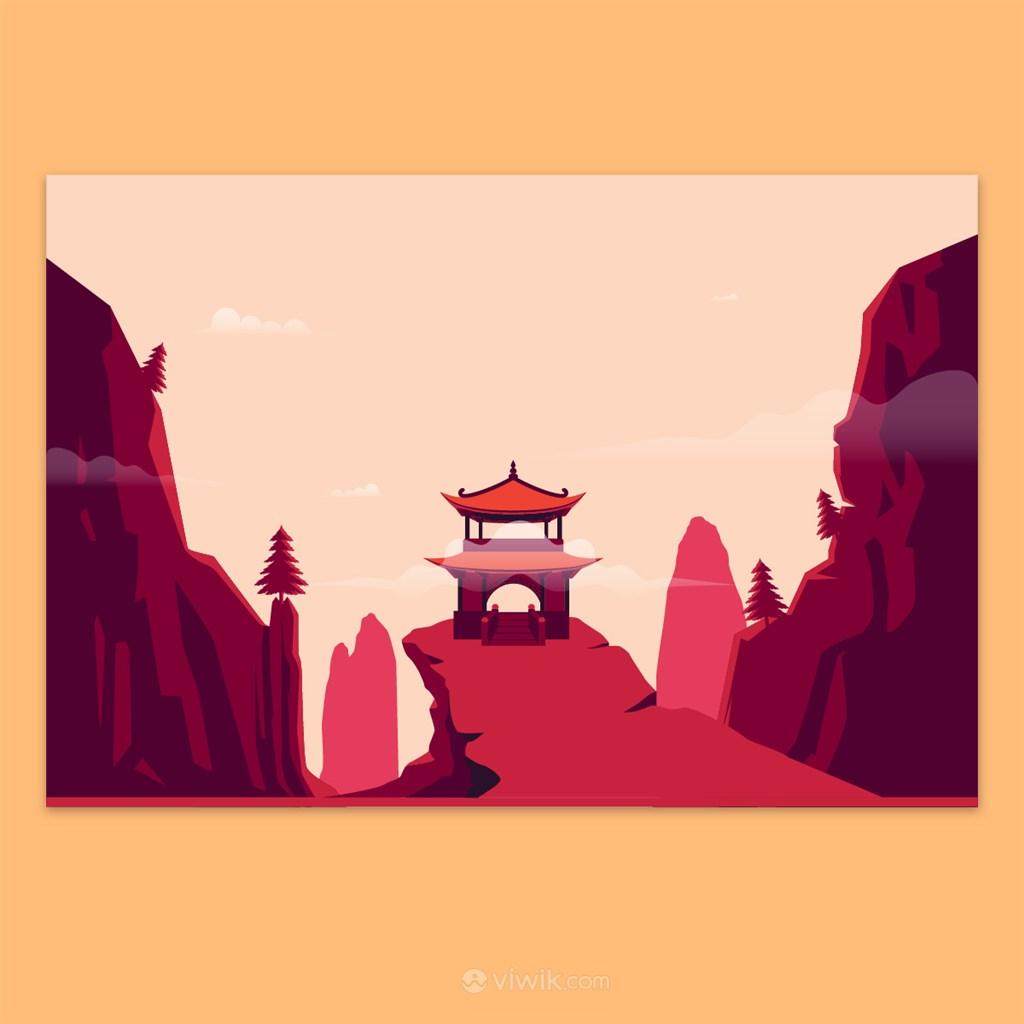 中国塔楼城楼寺庙矢量素材