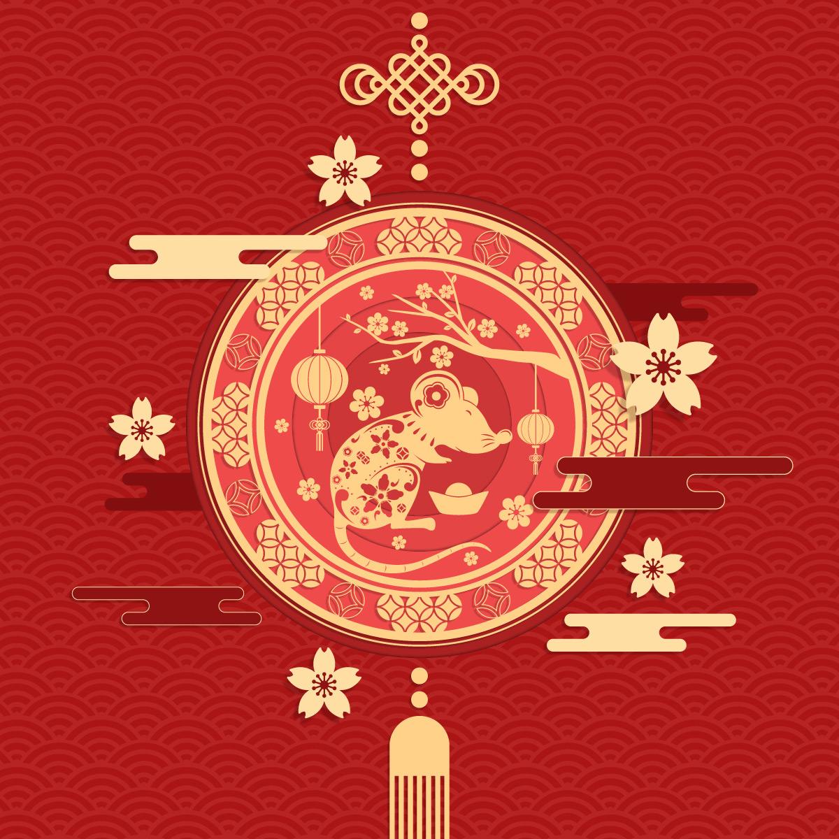 2020鼠年喜庆中式海报矢量素材