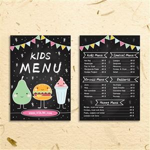 卡通儿童餐菜单设计模板.eps