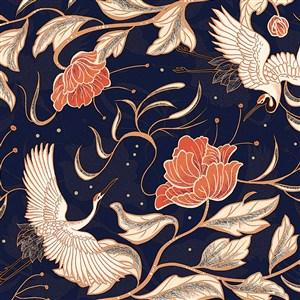 中国风仙鹤牡丹底纹背景素材