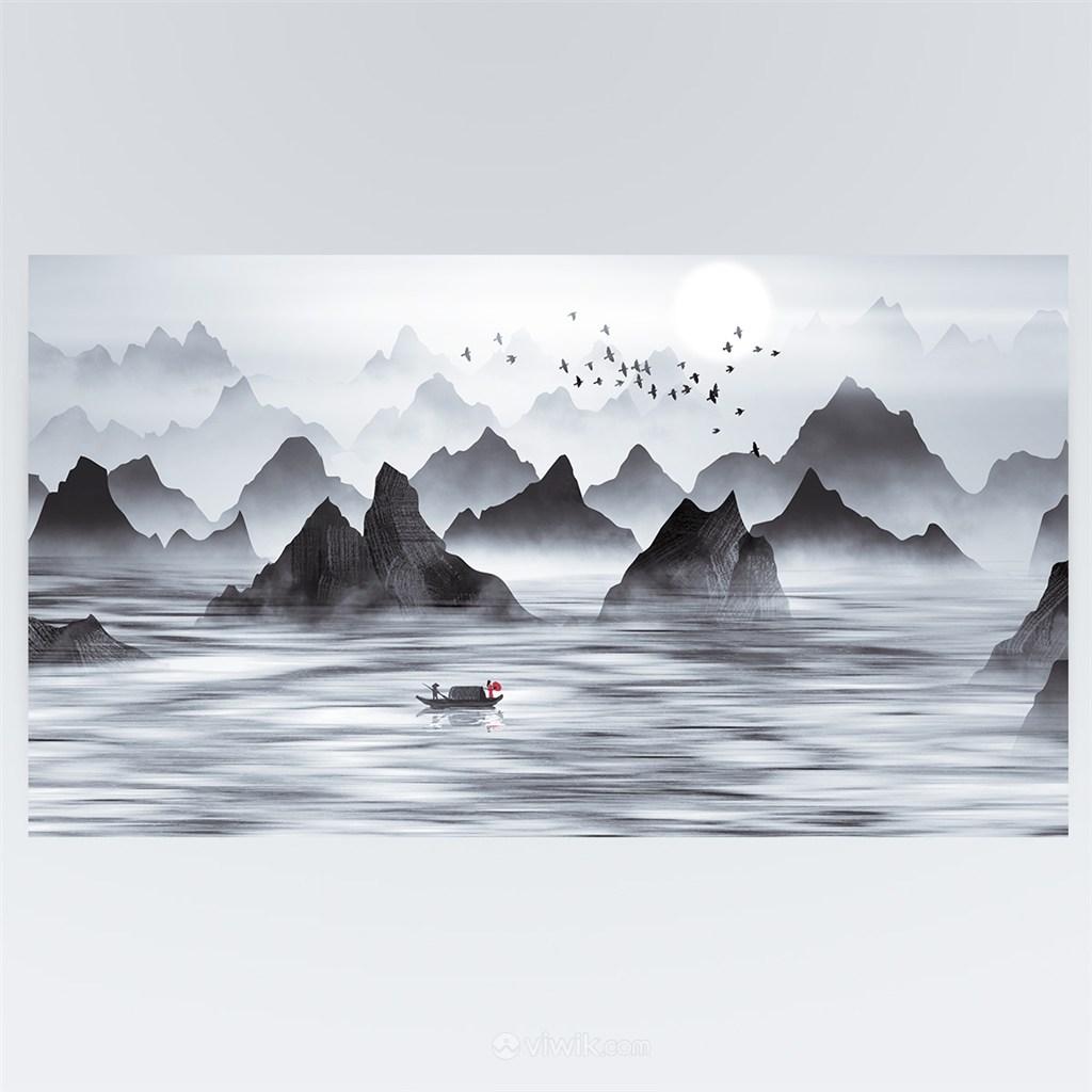 中国风诗意江中泛舟水墨山水画背景素材