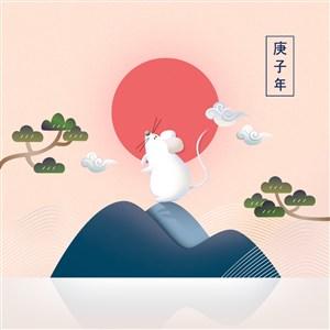 唯美鼠年新年春节节日海报素材