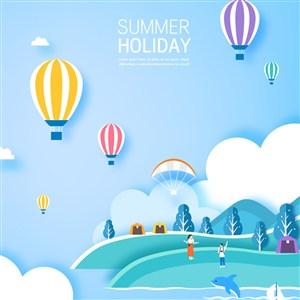 假日戶外度假熱氣球風景插畫矢量素材