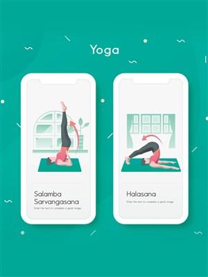 瑜伽运动倒立插图页面AI设计素材