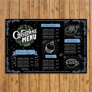 欧式复古风手绘卡通圣诞夜菜单设计模板.eps