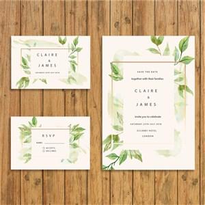 綠葉唯美手繪小清新結婚典禮邀請函模板.eps