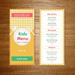 国外鲜艳明黄色彩儿童餐厅菜单设计模板.eps