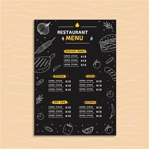 国外创意简笔画手绘餐厅菜单模板.eps