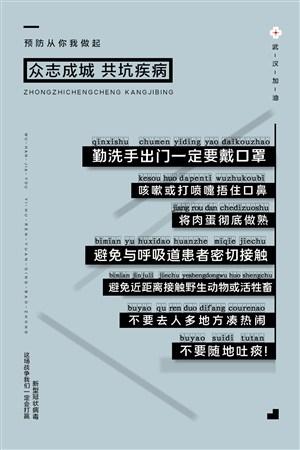 抗擊冠狀病毒預防措施宣傳公益海報
