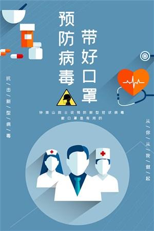 預防病毒戴好口罩公益宣傳海報