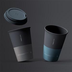 两个一次性水杯咖啡杯样机