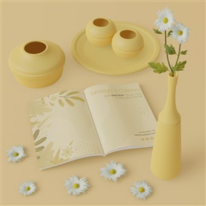 3D花瓶与桌面上的卡片贴图样机