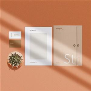 带光影效果的文件袋商务文件贴图样机