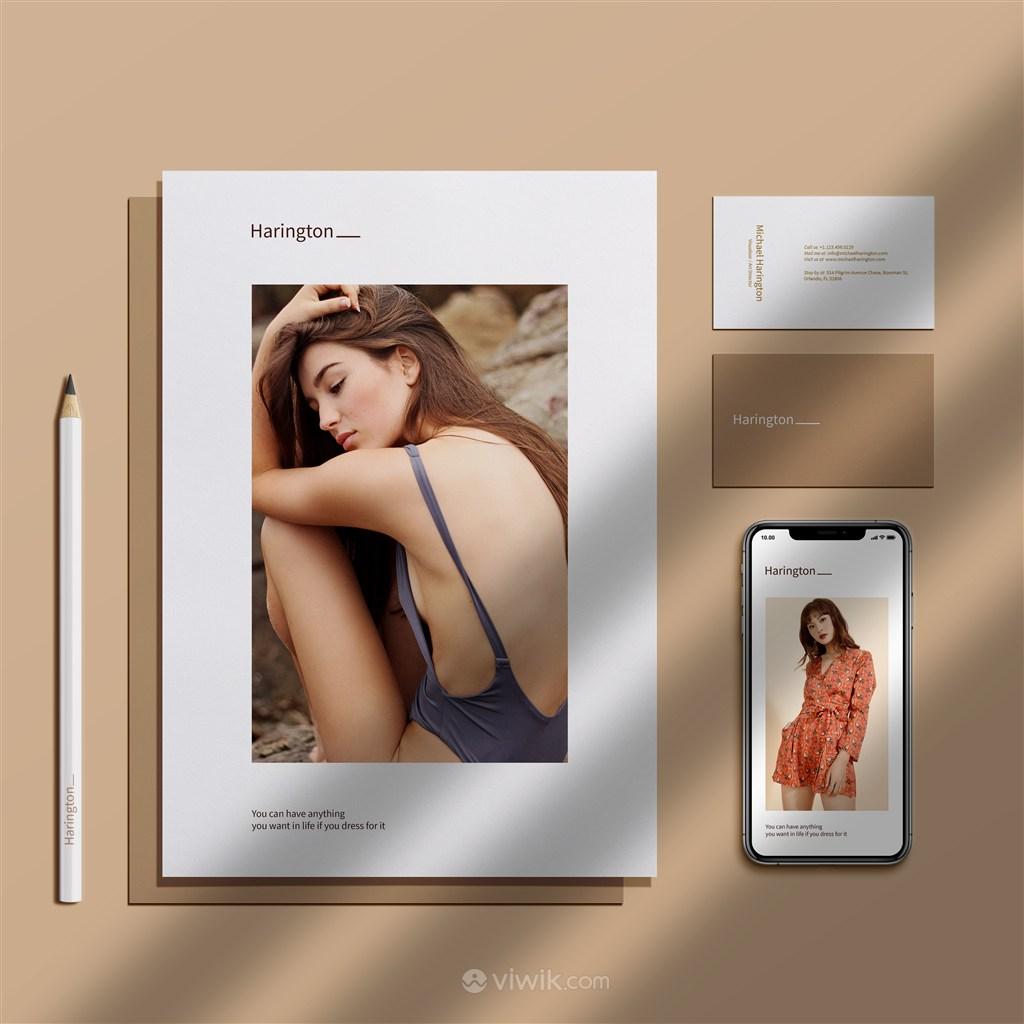 女性品牌vi名片手機宣傳單頁樣機