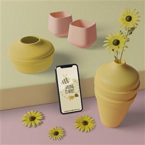 3D花瓶與手機樣機