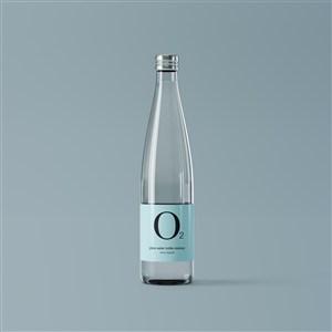 玻璃水瓶包装贴图样机