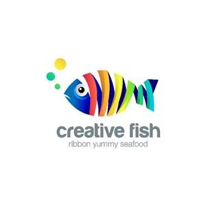 五彩鱼标志图标矢量logo设计素材