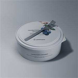 圆形密封食品包装盒贴图样机