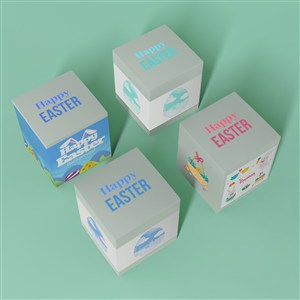 4个复活节礼品包装盒纸盒贴图样机