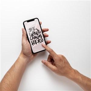 手拿手機貼圖樣機模板
