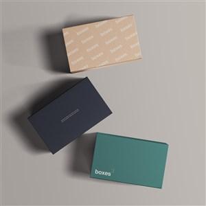 三个顶视图纸盒包装盒贴图样机