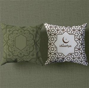 穆斯林风格白绿色抱枕贴图样机