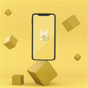在漂浮的方塊中的蘋果手機貼圖樣機