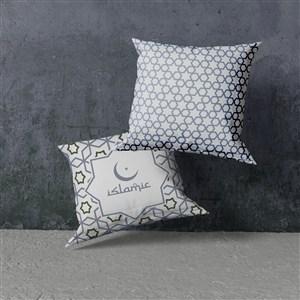 2个悬浮的穆斯林花纹抱枕贴图样机