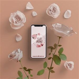 被玫瑰花包圍的手機貼圖樣機