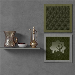 穆斯林风格挂画画框贴图样机