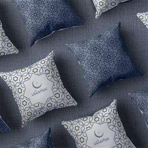 俯视图穆斯林风格抱枕贴图样机