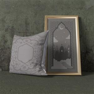 穆斯林风格抱枕与挂画画框贴图样机