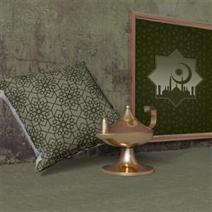 穆斯林风格抱枕画框样机