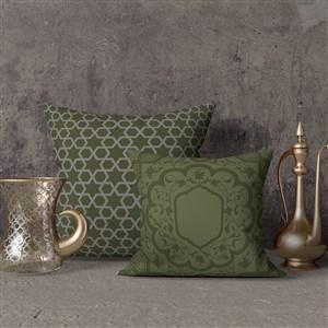 两个叠在一起的穆斯林风格抱枕贴图样机