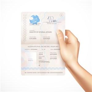 手拿打開的護照貼圖樣機