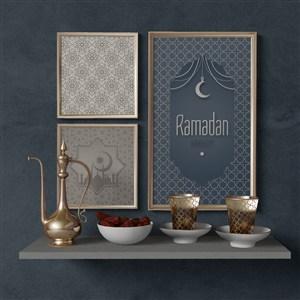 穆斯林风格组合墙上挂画画框贴图样机