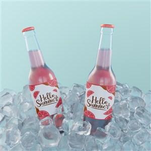 两瓶在冰块里的玻璃瓶包装苏打水贴图样机