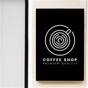 咖啡店店招貼圖樣機