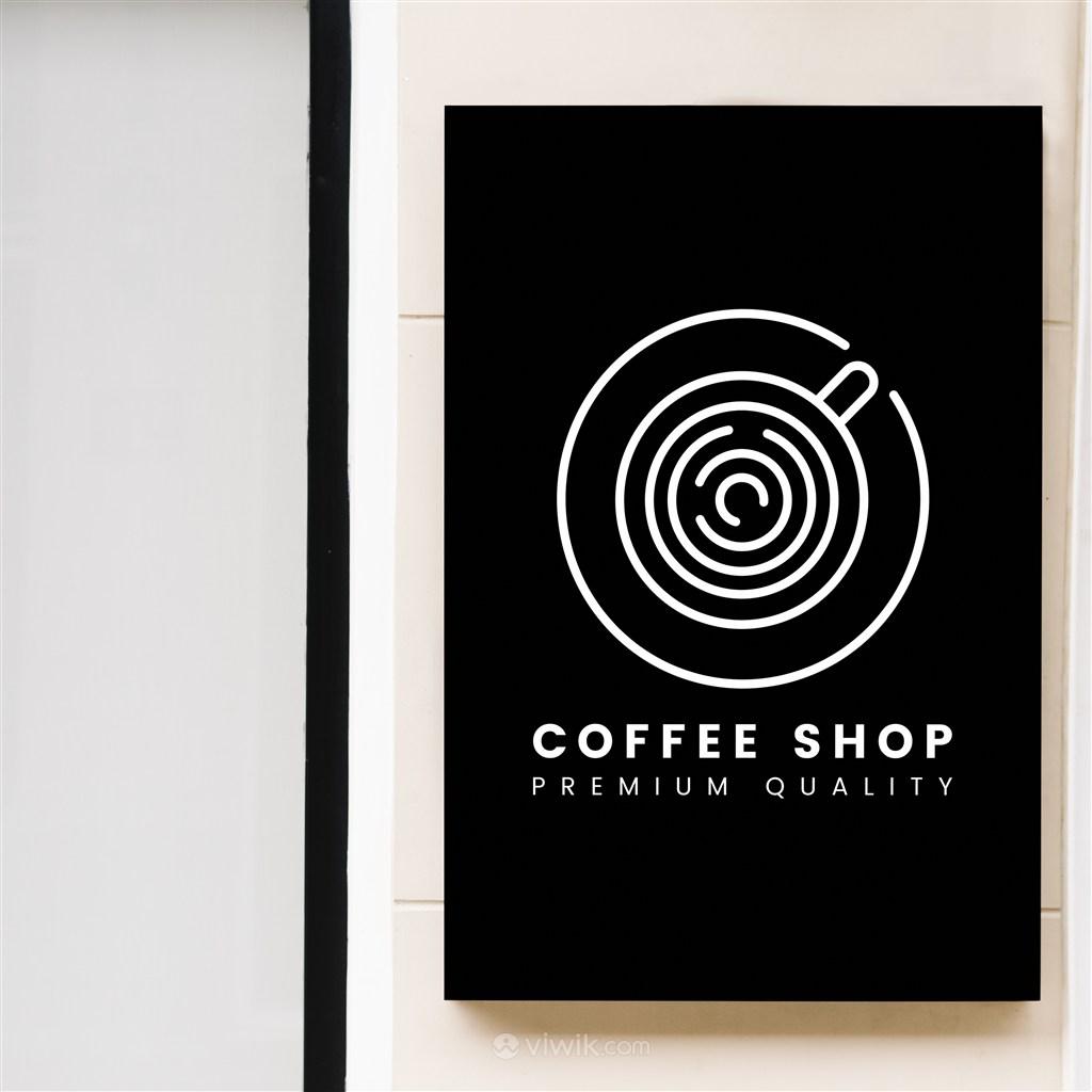 咖啡店店招贴图样机