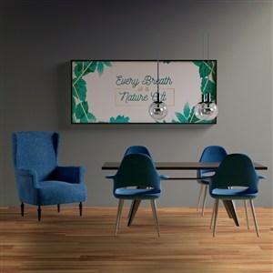 会议室墙上挂画画框贴图样机