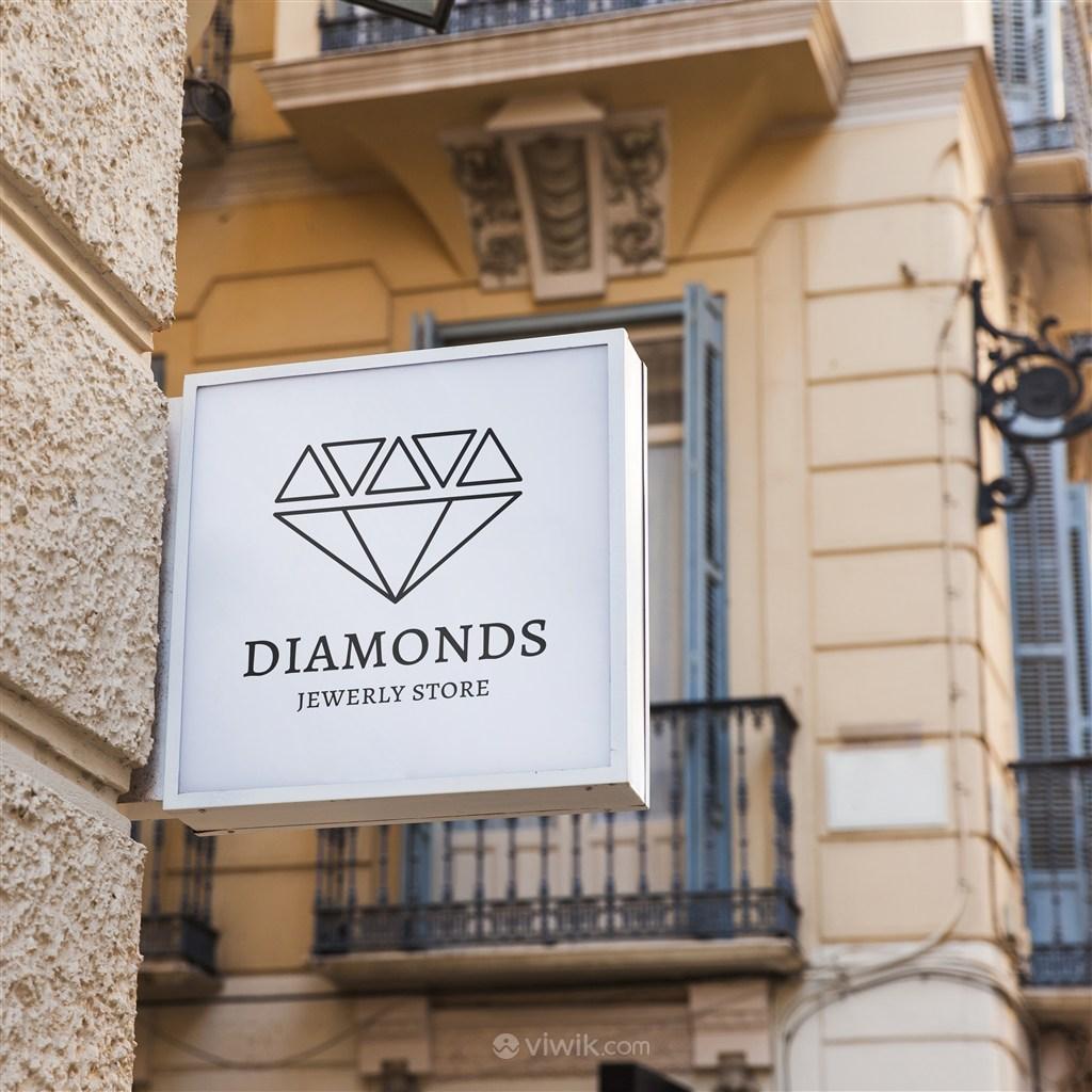 珠宝品牌店招贴图样机