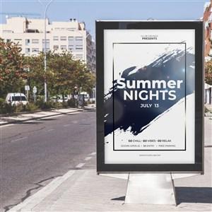公交站台灯箱广告贴图样机